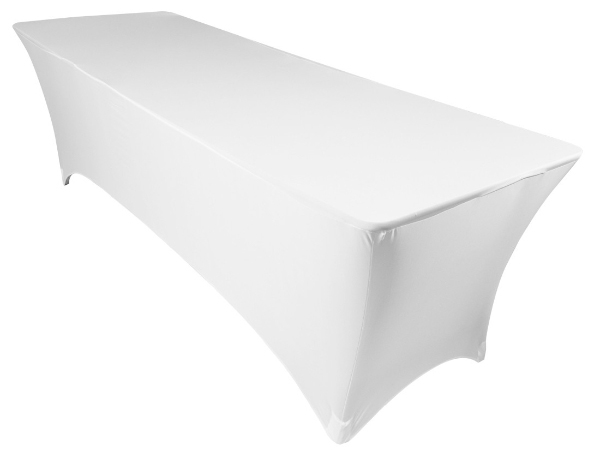 Amazin Gear Professional DJ Products - SKRIMS Rectangular Stretch Spandex Table Scrim Cover - Stretch Table Cover in White - Perfect for LED Lighting